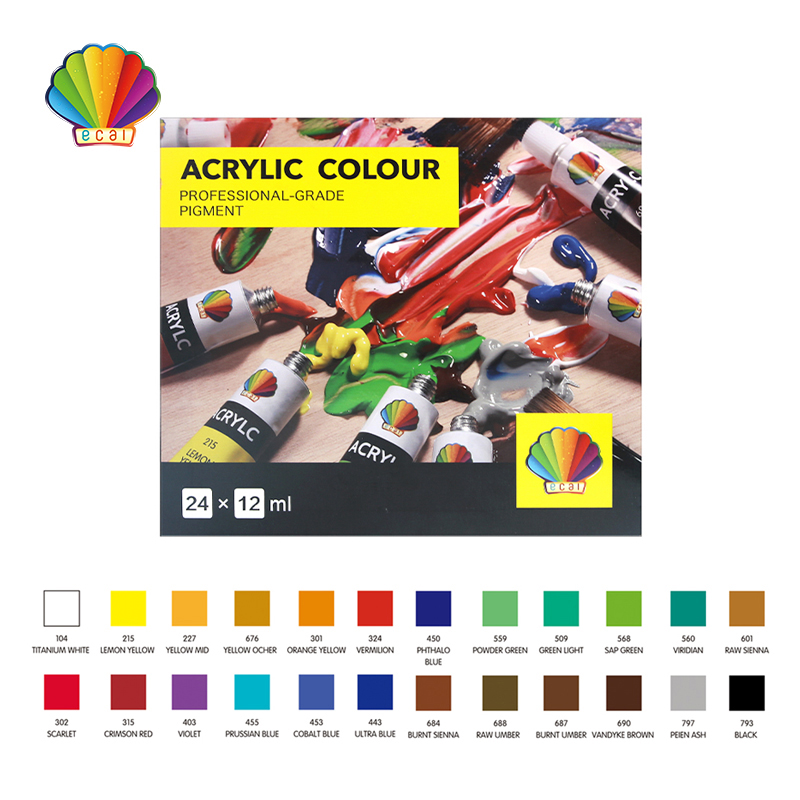 Acrylic color 12ml*24colors with hanging hole