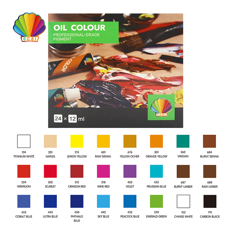 Oil color 12ml*12colors with hanging hole