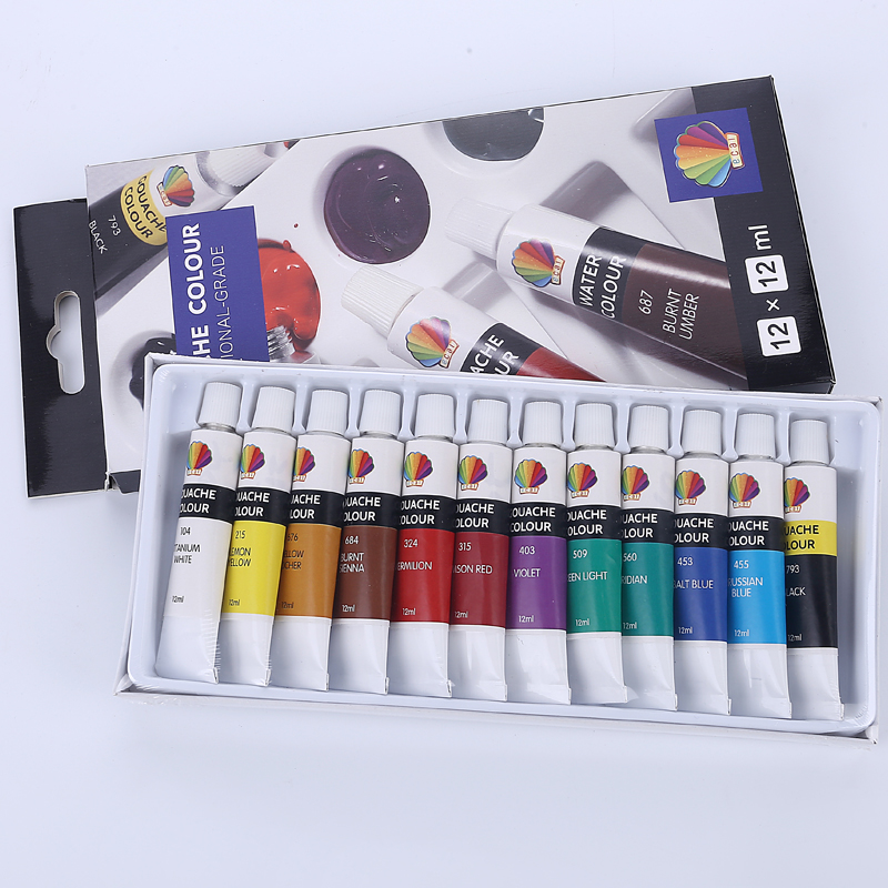 Gouache color 12ml*12colors with hanging hole