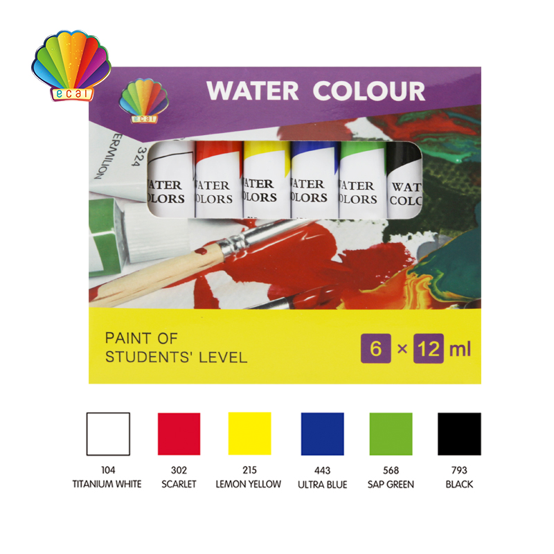 Students grade-Water color 12ml*6colors with window