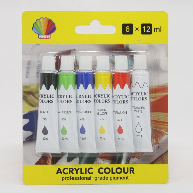 Acrylic color  12ml*6colors   packed by blister card