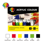 Professional grade- Acrylic color 12ml*6colors with window